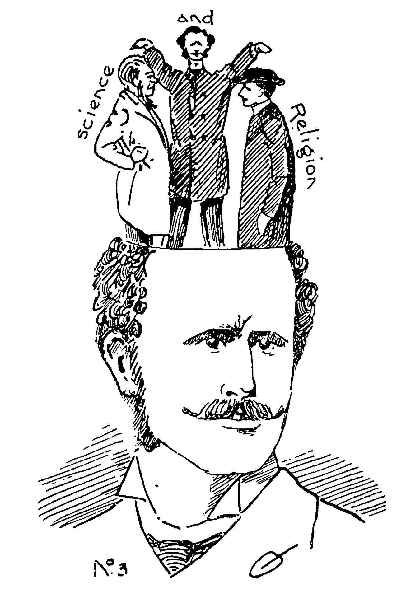 Шарж на шотландского натуралиста и богослова Генри Драммонда, опубликованный в газете The Student, 22 февраля 1893 года