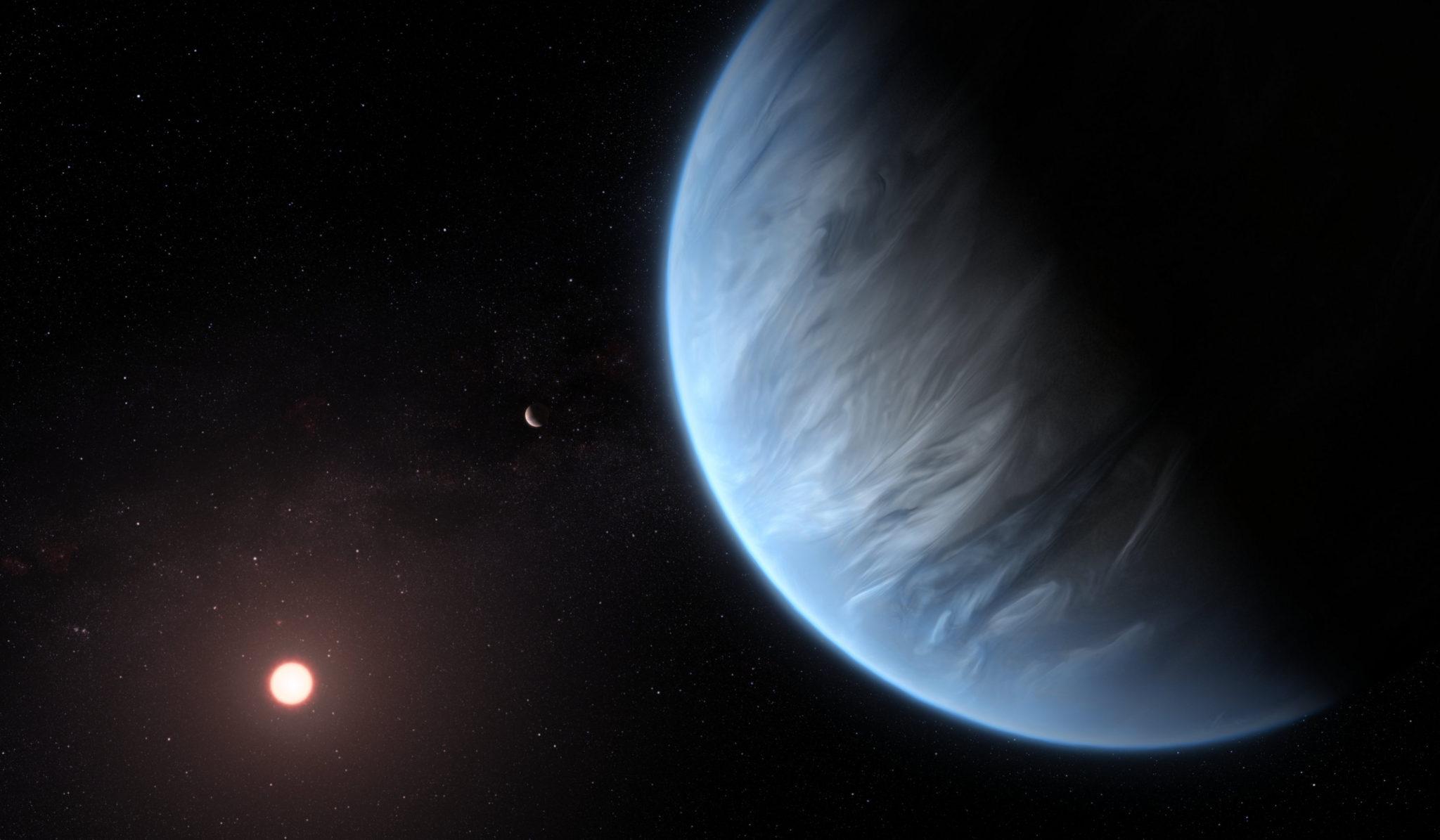 Так художник представляет себе систему K2–18. Изображение ESA/Hubble, M. Kornmesser с сайта spacetelescope.org