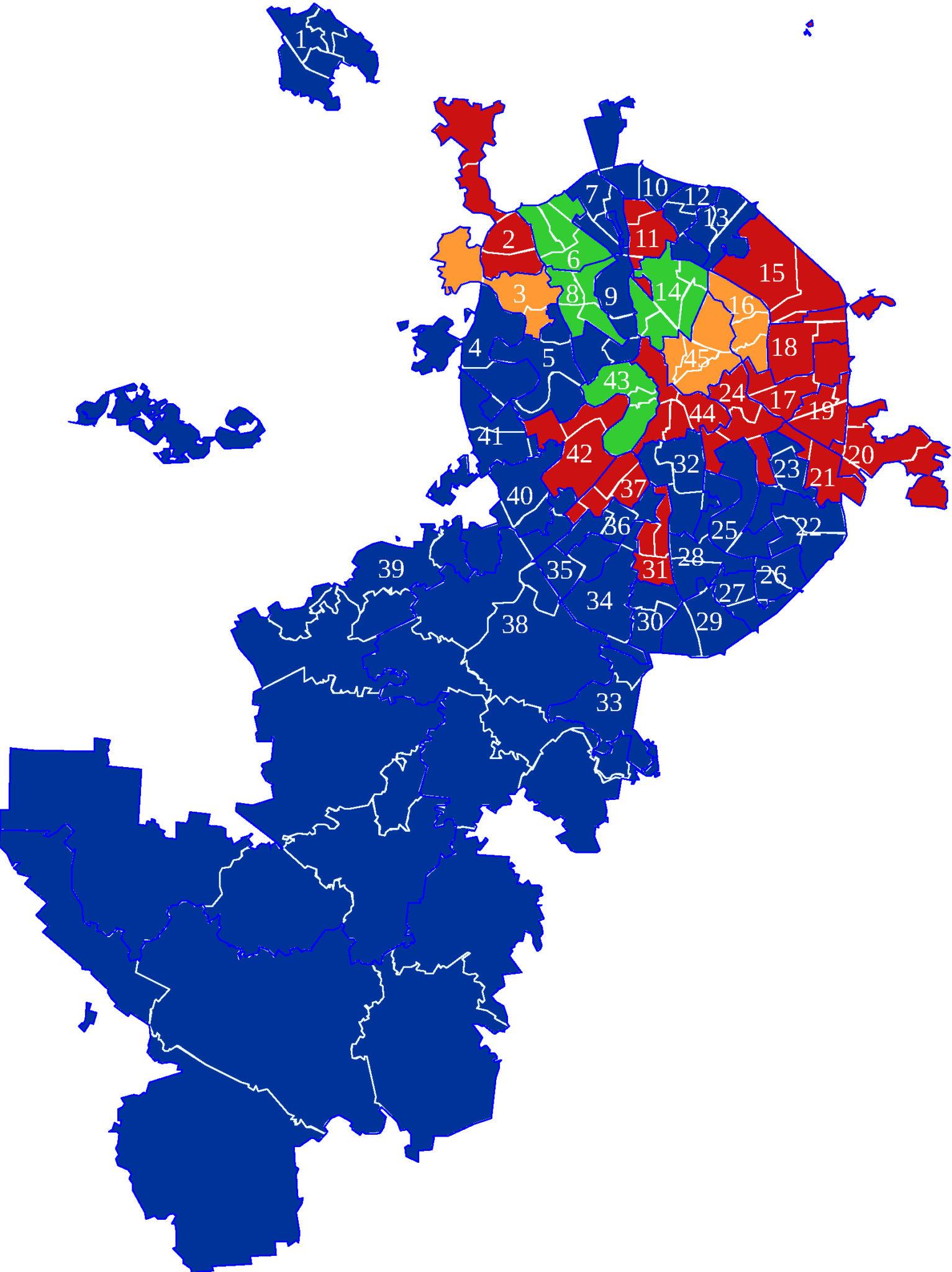 Итоги выборов. Округа покрашены в цвета партии, поддержавшей победителя: синий — ЕР, красный — КПРФ, зеленый — «Яблоко», оранжевый — СР («Википедия»)