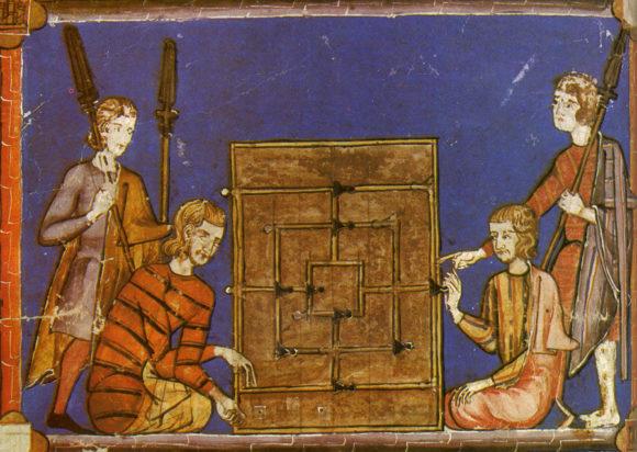 Рис. 3. Игра в «Мельницу». Иллюстрация из «Книги игр» короля Альфонсо X (Испания, 1283 год)