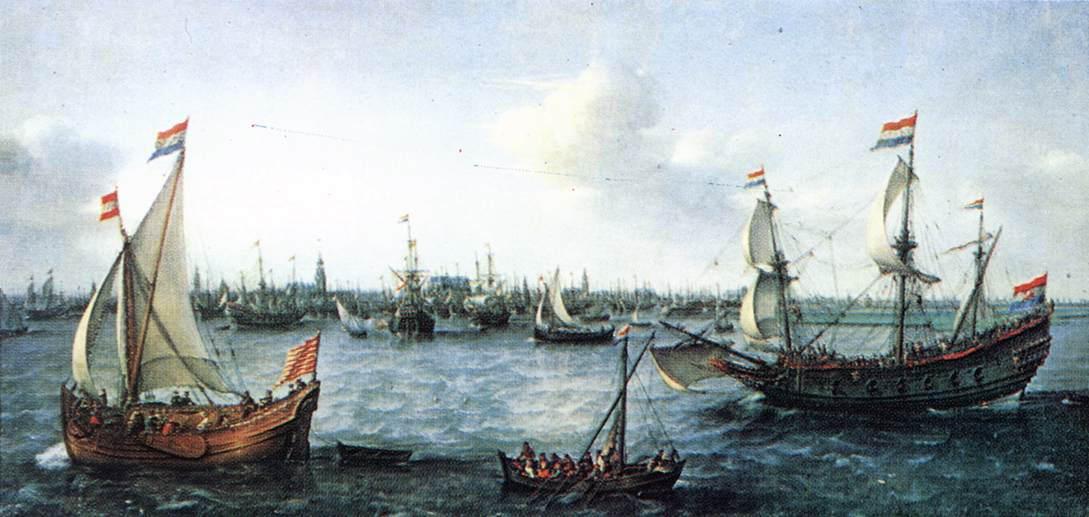 Флибот и галеон на картине Хендрика Корнелиса Врома