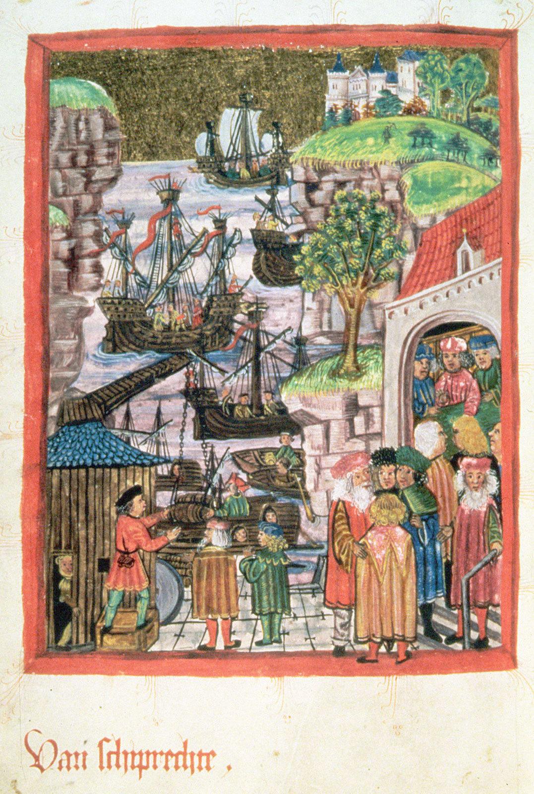 Миниатюра из Ганзейского права (1475)