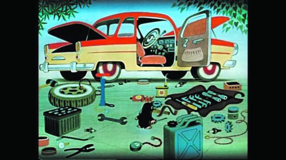 Рис. 1. Возможный символ любознательности и исследовательского поведения — Кротик, обследующий автостоянку и внутренний мир автомобиля (фрагмент мультфильма «Крот и автомобиль», 1963)