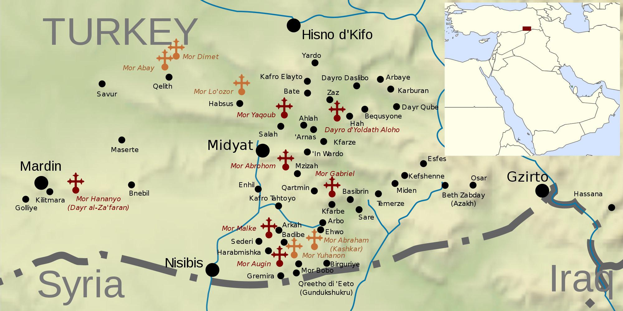 Карта Тур-Абдина. Красными крестами помечены действующие монастыри. «Википедия»