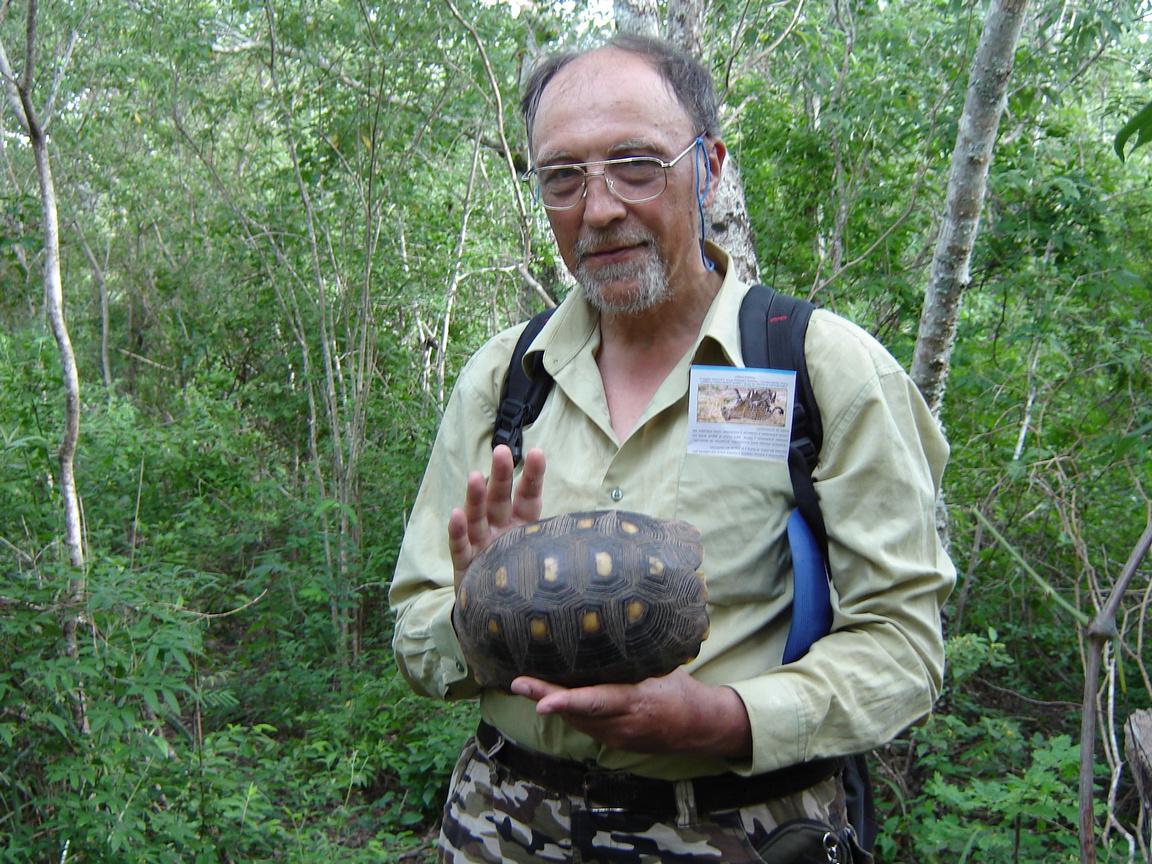 Боливия, Гранд-Чако. Энтомолог А. В. Горохов с черепахой (после фотографирования черепаха была отпущена). 2014