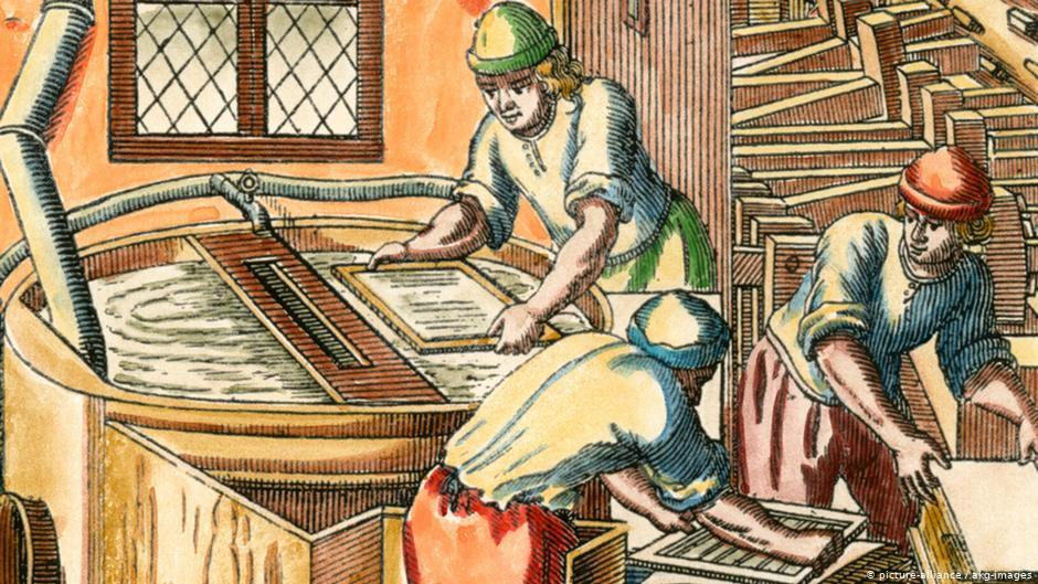 Бумажная мельница. Гравюра 1689года