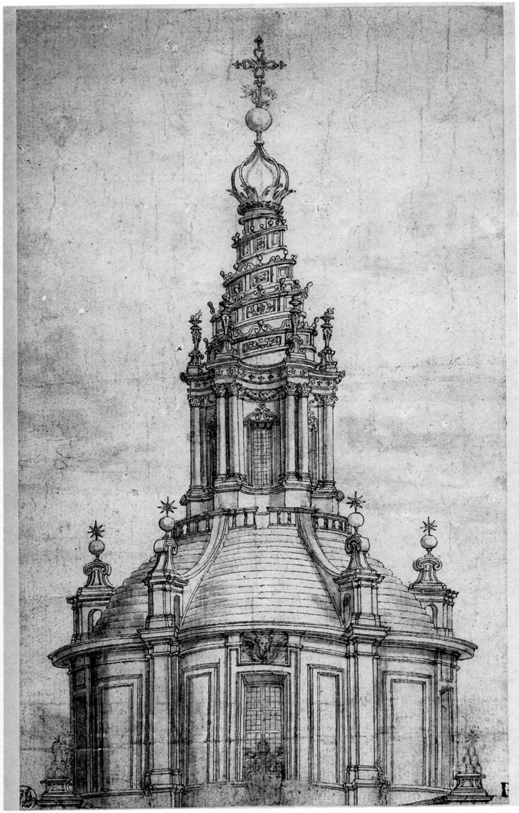 Лантерна университетской церкви Сант-Иво алла Сапиенца (итал. Chiesa di Sant'Ivo alla Sapienza). Архитектор Франческо Борромини (XVII век)