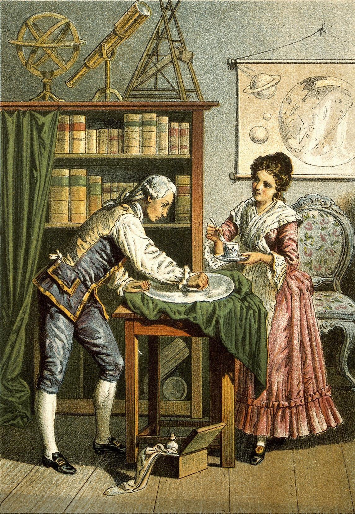 Уильям и Каролина изготавливают телескоп. Литография ок. 1896 года