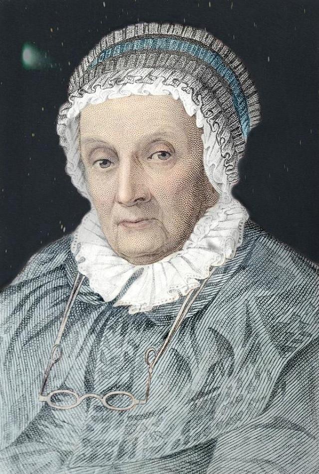 Каролина Лукреция Гершель. Рисунок на основе гравюры Джона Брауна, 1842 год