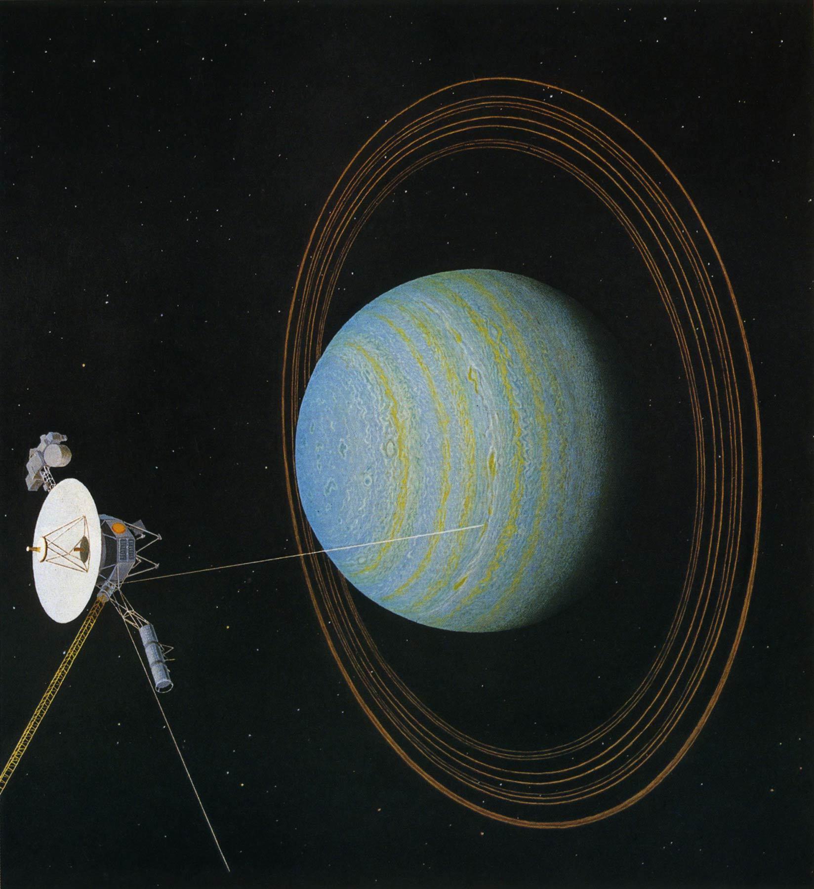 «Вояджер-2» приближается к Урану (1986). Фантазия художника