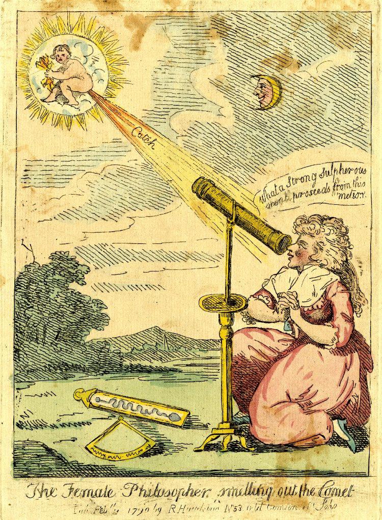 Женщина-философ нюхает комету. Карикатура (1790). Британский музей (Лондон)