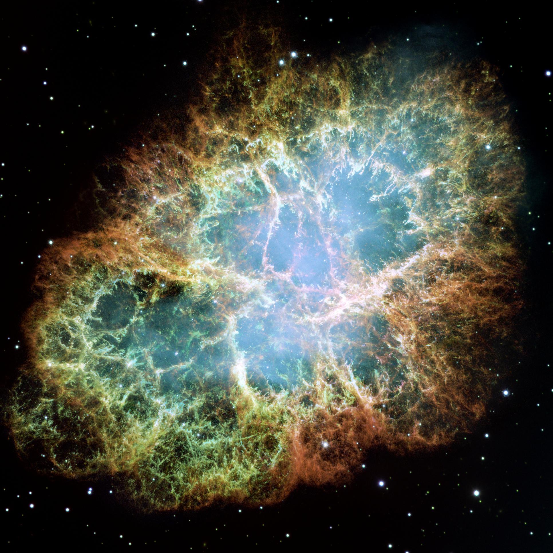 Крабовидная туманность, где разворачивается действие рассказа Мюррея Лейнстера «Первый контакт», опубликованного в 1945 году. В соответствии с научными представлениями своего времени автор пишет, что центральная звезда туманности -- белый карлик, однако дальнейшие исследования показали, что это нейтронная звезда. Изображение сделано на основе снимков орбитального телескопа «Хаббл». Источник: NASA, ESA, J. Hester and A. Loll (Arizona State University)
