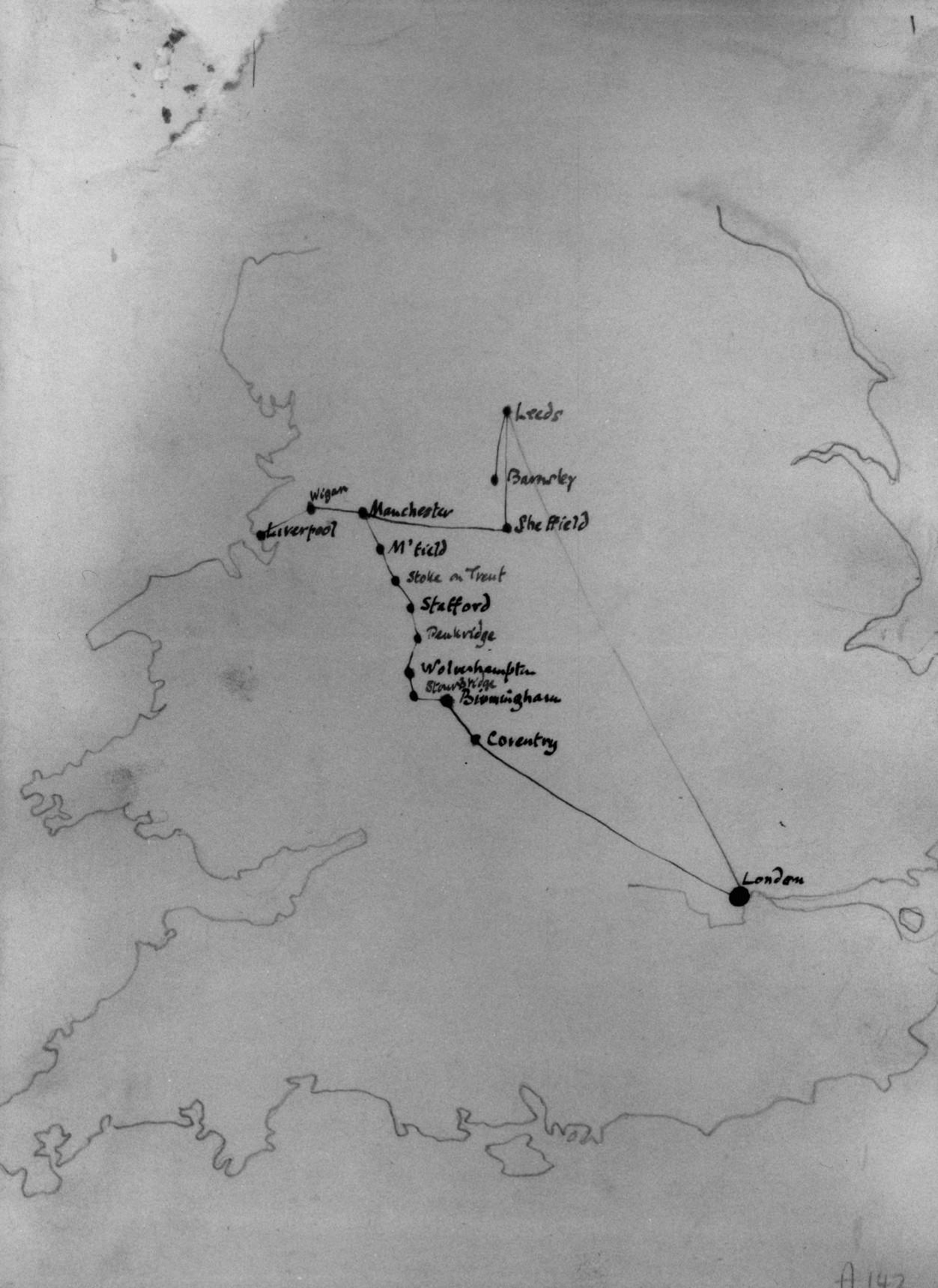 Нарисованная Дж. Оруэллом эскизная карта его путешествия на север Англии