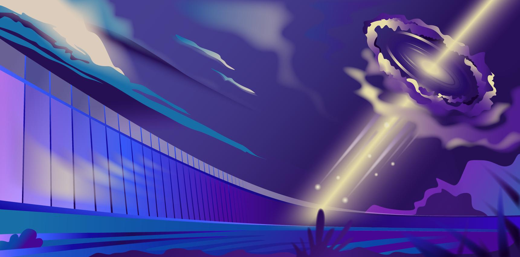 Телескоп РАТАН-600 помогает разобраться, где рождаются нейтрино. Иллюстрация Дарьи Сокол, пресс-служба МФТИ