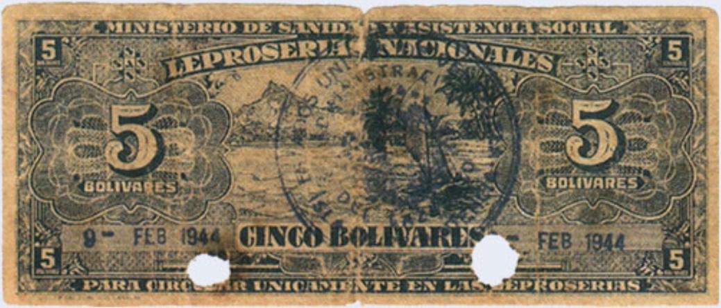 Венесуэла. 5 боливаров для лепрозориев, оборотная сторона (numismatica.info.ve)