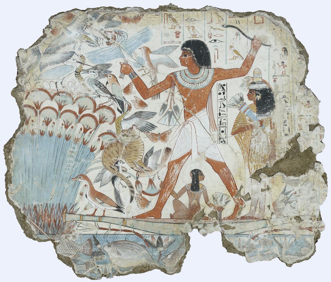 Фреска из гробницы Небамона, чиновника XV века (годы правления фараонов Тутмоса IV или Аменхотепа III). Вы заметили кота?