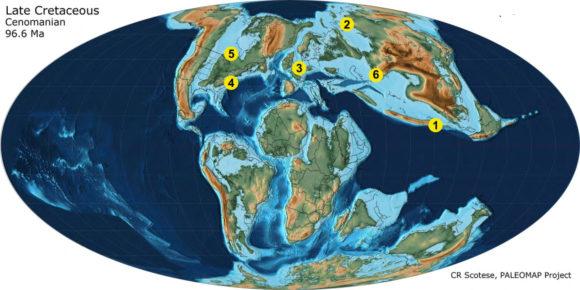 Рис. 3. Основные местонахождения верхнемеловых янтарей с инклюзами: 1 — в Бирме, 2 — на Таймыре (Янтардах), 3 — во Франции (шарантийский янтарь), 4 — в США (нью-джерсийский янтарь), 5 — в Канаде, 6 — в Азербайджане