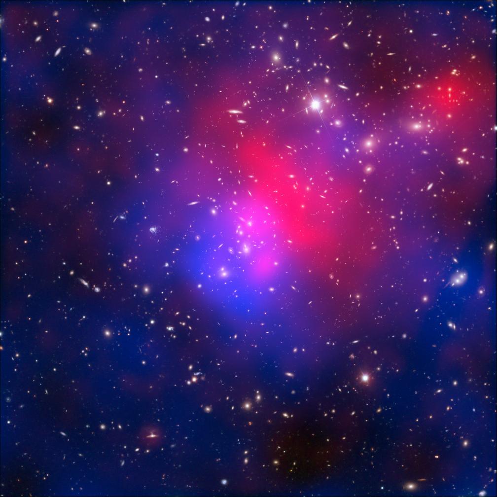 Скопление галактик Abell 2744 (скопление Пандоры). Распределение массы: галактики — около 5%, газ — около 20% (условно красного цвета, на самом деле он испускает рентгеновское излучение), невидимая темная материя — около 75% (условно синего цвета, на самом деле обнаружена с помощью гравитационного линзирования). «Википедия»