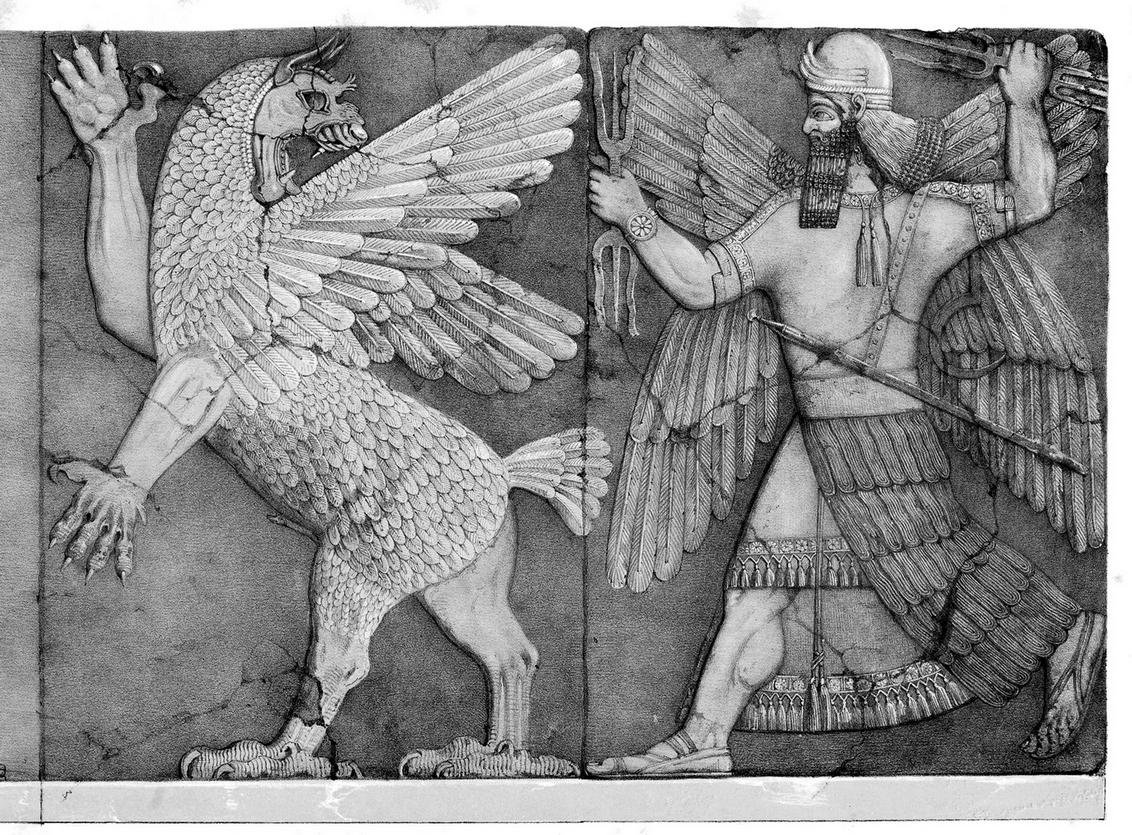 Победа Нинурты над Анзу. Барельеф в храме Нинурты в Нимруде (X век до н. э.). «Википедия»