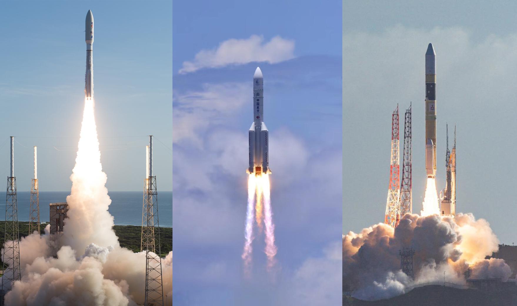 Слева направо: «Атлас‑5», «Чанчжэн‑5», H-IIA. NASA / Xinhua / Hope Mars Mission
