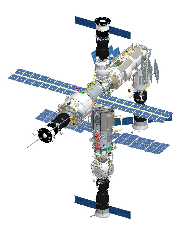 Российский сегмент МКС после стыковки модуля «Наука» и узлового модуля «Причал» (РКК «Энергия»)