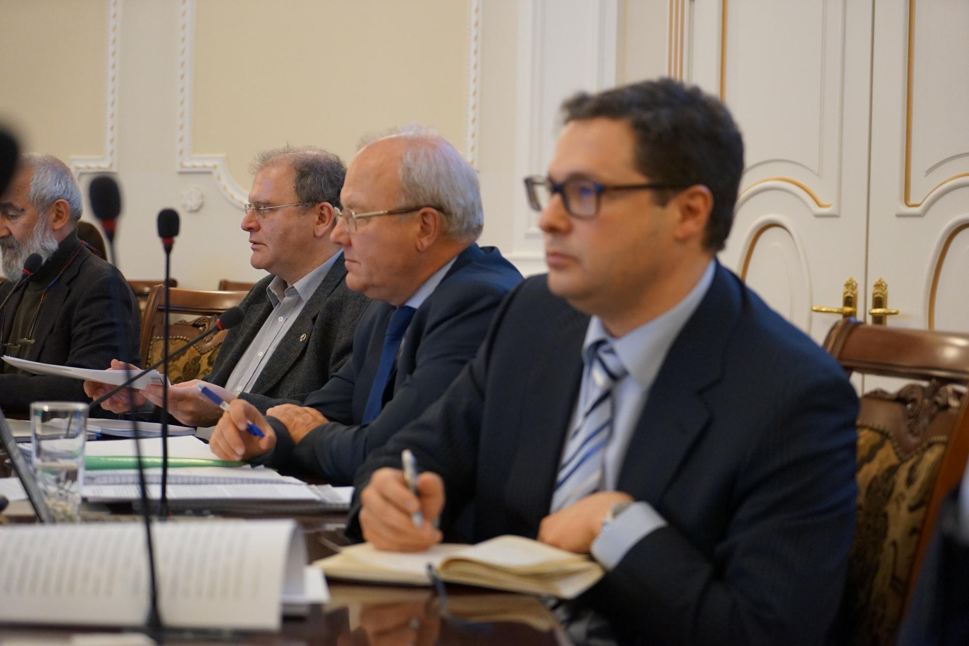 Заседание Совета по науке 1 февраля 2018 года. Слева направо: Андрей Цатурян, Аскольд Иванчик, Алексей Хохлов, Юрий Ковалев. Фото Н. Деминой