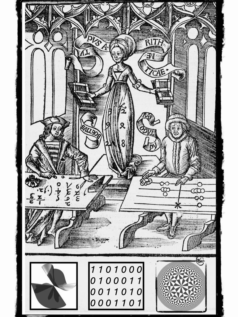 Титульный лист главы «Арифметика» из первопечатной университетской энциклопедии «Margarita philosophica»