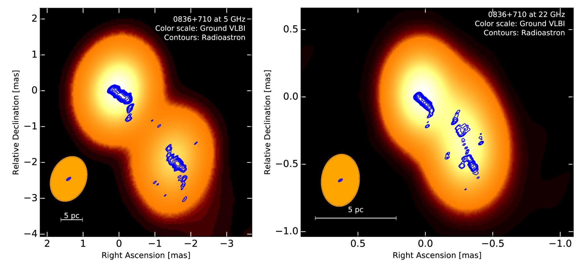 Рис. 3. Джет блазара 0836+71, движущийся на нас с отклонением 3°. Цветом показана карта, снятая наземным радиоинтерферометром, синими контурами — карта «Радиоастрона». На правой панели тот же источник, что и на левой (верхнее пятно), но на более высокой частоте и в большем масштабе (Vega-Garcia и др., 2019, A&A)