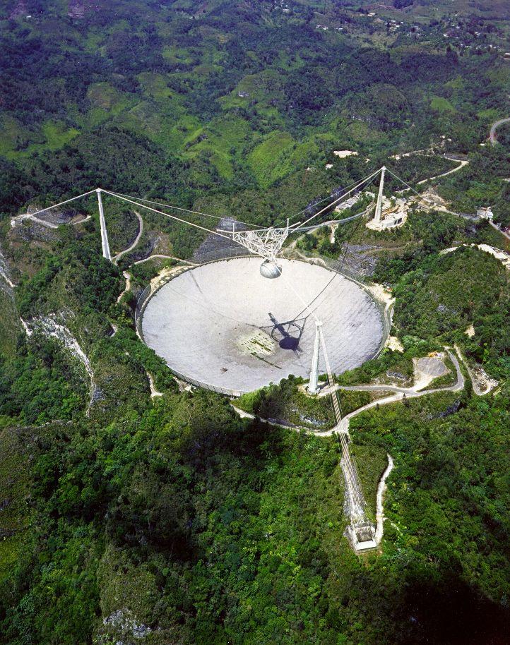 Телескоп «Аресибо» с высоты птичьего полета. Публикуется с разрешения Обсерватории «Аресибо».