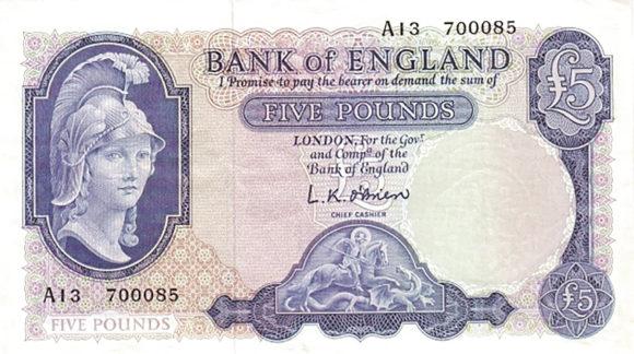 Рис.9. Англия, 5 фунтов (1957), лицевая сторона