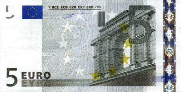 Рис.13. 5 евро (2002), лицевая сторона идеталь