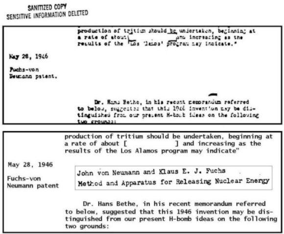 Рассекреченная (с купюрами) американская хронология создания термоядерной бомбы и название рассекреченной заявки на патент К. Фукса, Дж. фон Неймана 1946 года