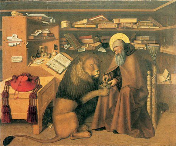 Святой Иероним (покровитель переводчиков) вынимает занозу из лапы льва. Колантонио (XV век)
