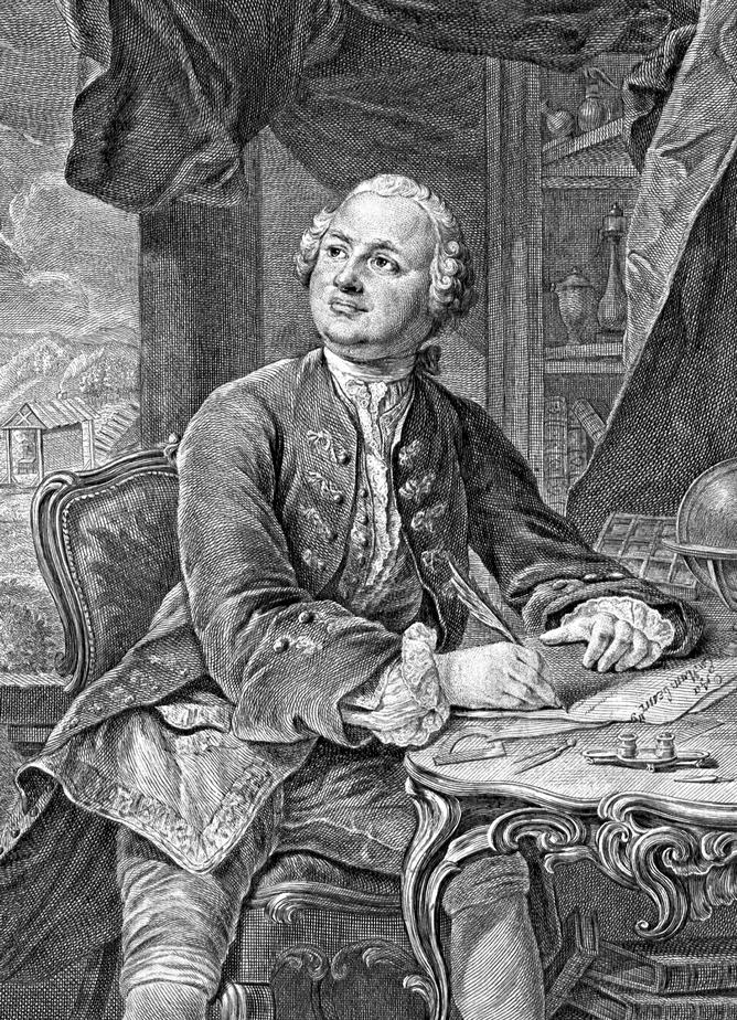 М. В. Ломоносов. Гравюра Э. Фессара и К. А. Вортмана (1757)