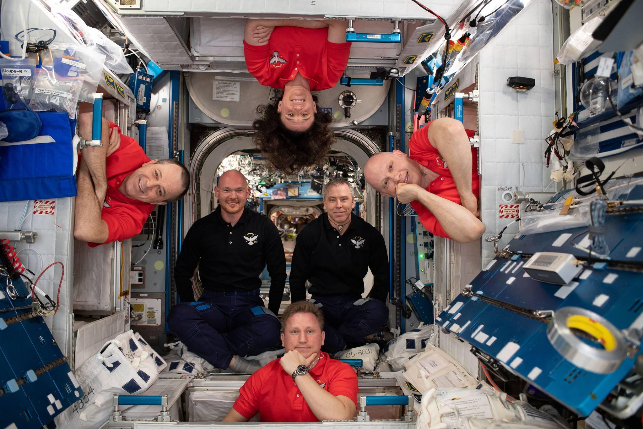 Экипаж основной экспедиции МКС-56 (Эндрю Фёйстел, Олег Артемьев, Ричард Арнольд, Сергей Прокопьев, Александер Герст, Серена Ауньон-Чэнселлор). Фото NASA