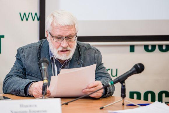 Н. Хромов-Борисов на пресс-конференции, посвященной меморандуму о лженаучности гомеопатии. Фото с сайта news.ifmo.ru