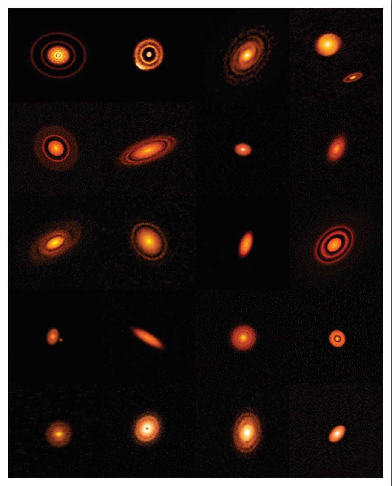 Рис. 3. На всех примерно одно и то же: большее или меньшее количество круговых щелей. Есть диски со спиральными рукавами: на общем рисунке это третий в верхнем ряду и первый во втором. Это результат гравитационной неустойчивости, той же, что делает галактики спиральными. Такие рукава прекрасно воспроизводятся численным моделированием