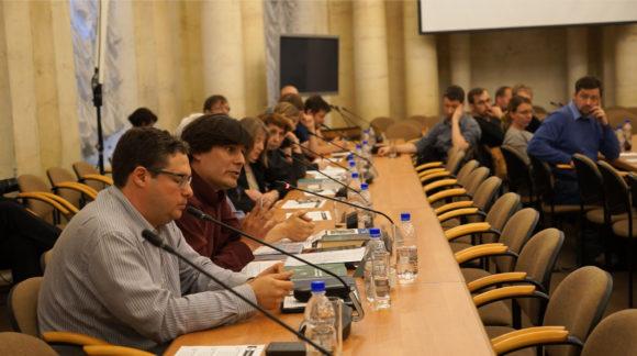 Ю. Ковалев, Н. Андреев на встрече с президентом РАН