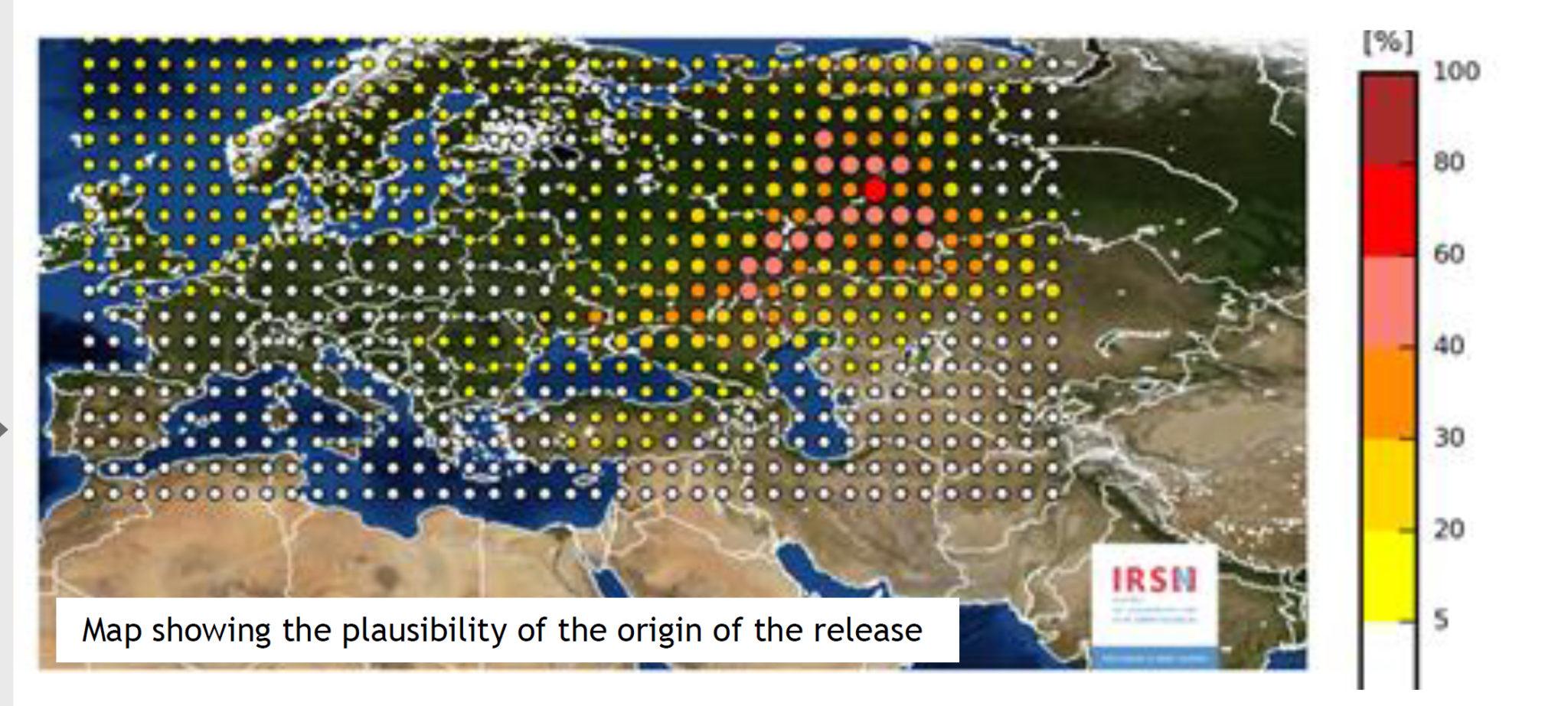 Карта, с предположительным местом выброса рутения-106