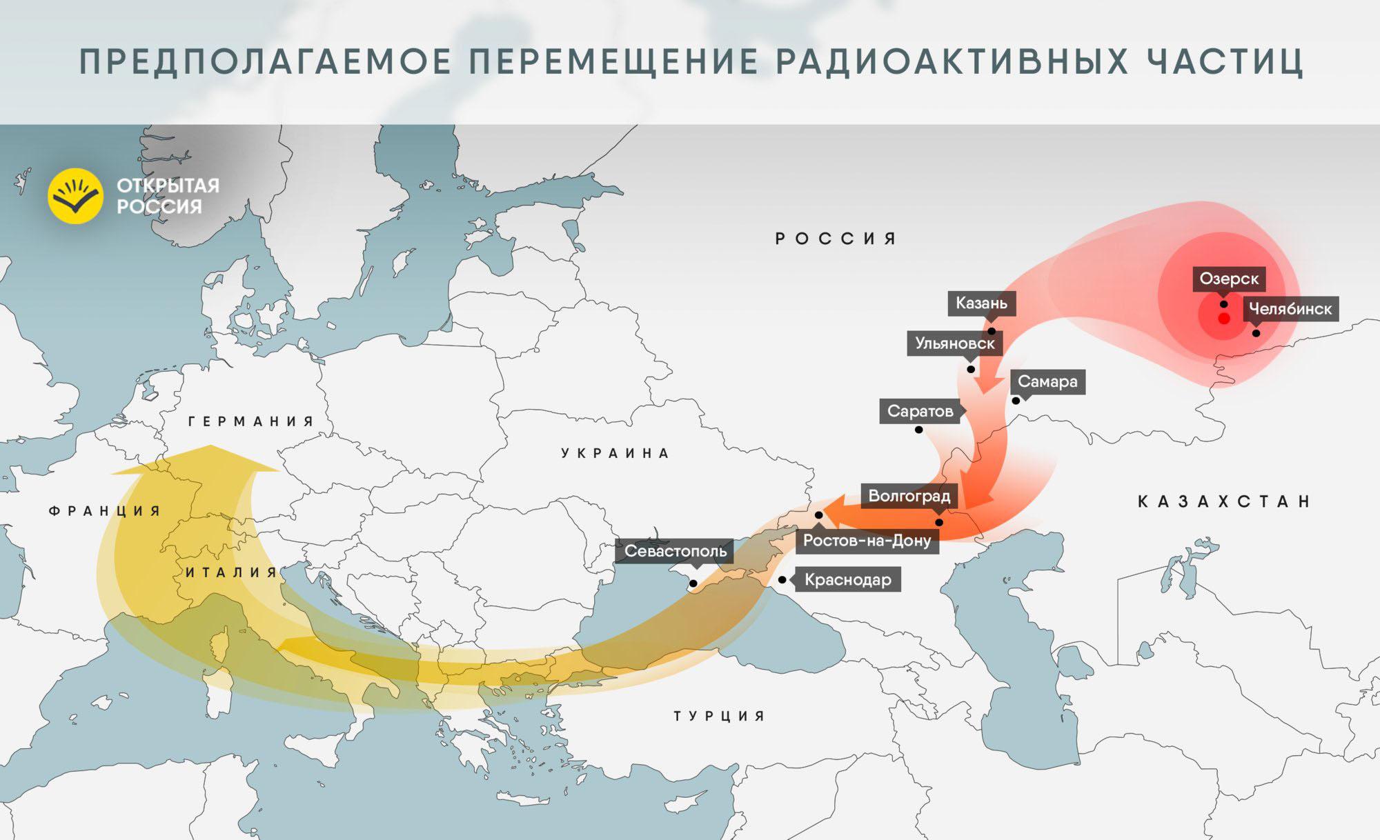 Рис. 2. Перемещение радиоактивных частиц, предполагаемое на основе опубликованных данных измерений.Источник: www.openrussia.org [9]